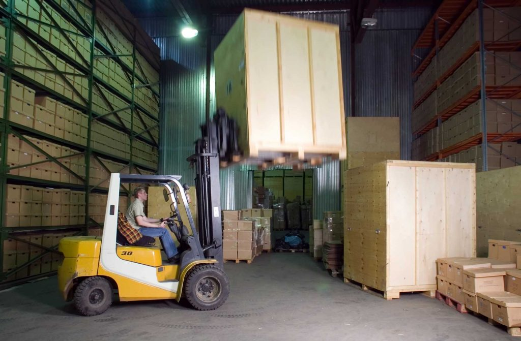 Warehouse interior with boxes. Warehouse Moving