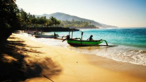 boats shored on a beautiful Bali beach