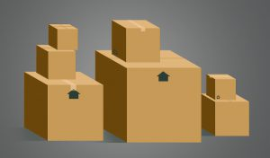 boxes properly stacked, big ones on the bottom, and small ones on top
