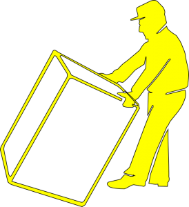 a mover holding a box when moving from Brooklyn