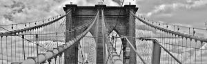 A black and white shot of Brooklyn Bridge taken upon moving to Bay Ridge