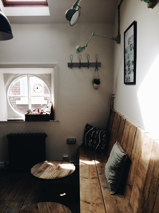 A living room with DIY furniture