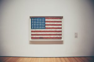 american flag in a museum