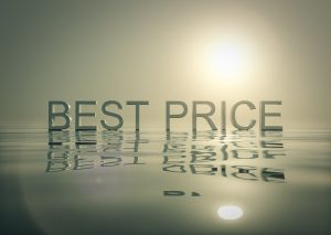 Big grey letters which spell best price, set on a grey surface. You can get the best price if you get a discount on your storage.