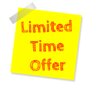 A yellow post-it note with the words `limited time offer` written in red.