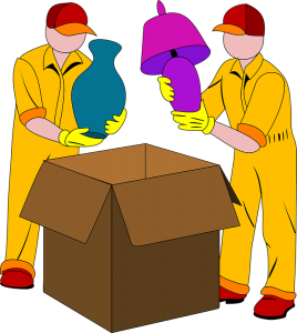 A sketch of two movers packing two lamps inside a brown cardboard moving box.