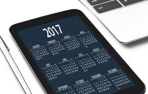 A calendar on a tablet.