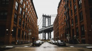 The scenic view in one of the quiet neighboorhoods in Brooklyn, DUMBO