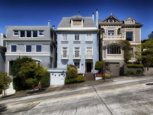 Three houses in a row, and choosing one is necessary before relocating to San Francisco.