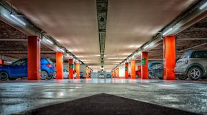 Large underground parking has parking spots for all