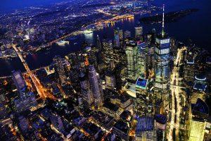 New York panoramic view at night.