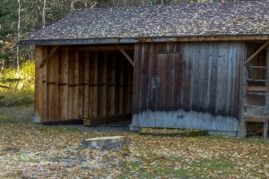A wooden shed