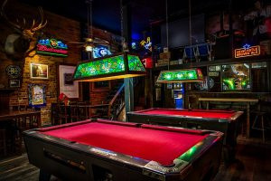 Pool tables in a bar