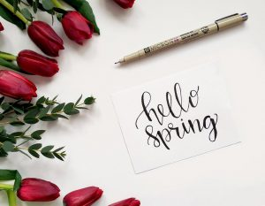 household spring cleaning - hello spring written