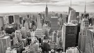 black and white skyline picture of NYC