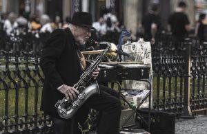 Old man playing saxophone