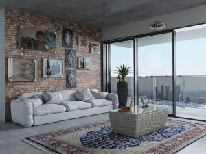 Glass wall grey tones living room