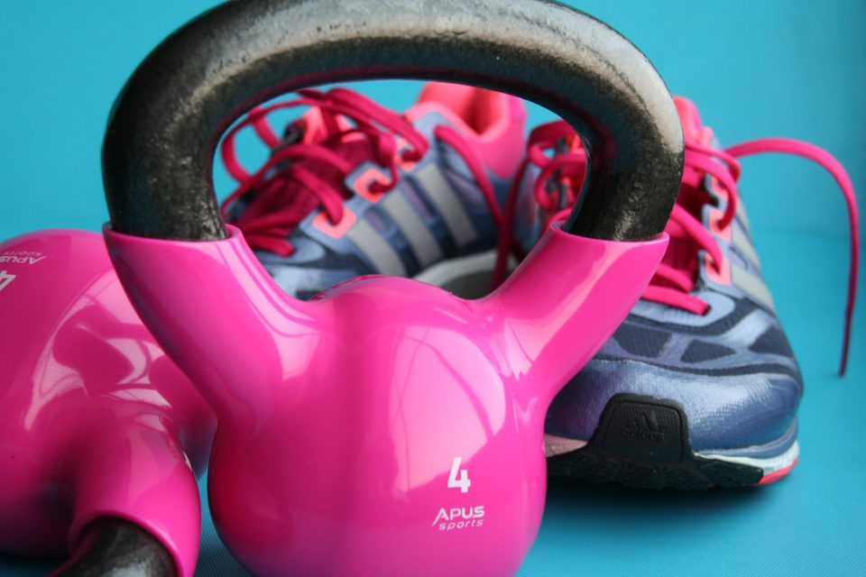 Pakc gym equipment pink dumbel and pink gym shoes