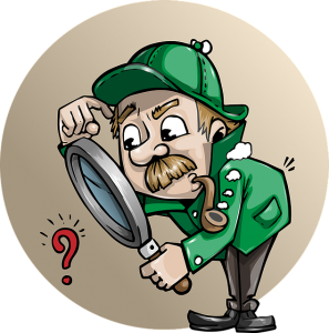 Detective cartoon inspecting something with a magnifying glass