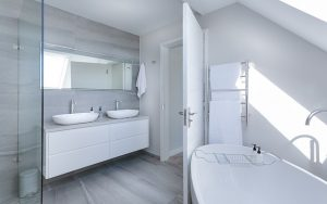 Modern minimalist white bathroom