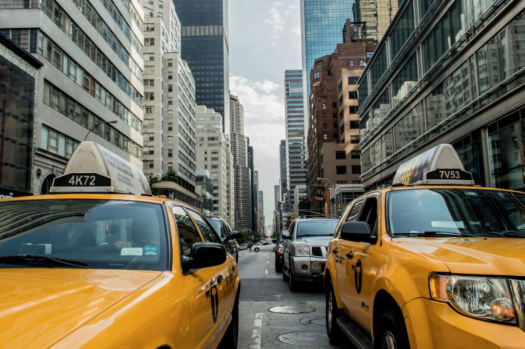 The streets of NYC with the famous yellow cabs