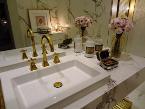 Bathroom sink with flowers on it. Focus on the details when you remodel a small bathroom.