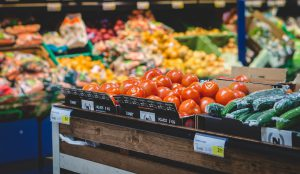 Vegetables at a grocery store - you can find packing supplies at a grocery store, just ask for some boxes.