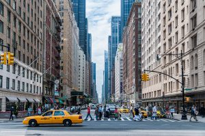 street level view on the crosswalk of NYC