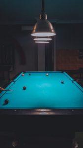 Blue pool table.