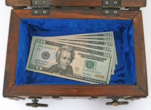 20 dollar bills in a box