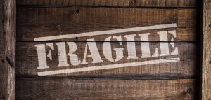 Fragile sign on a moving crate