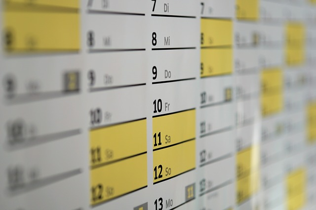 Calendar with dates