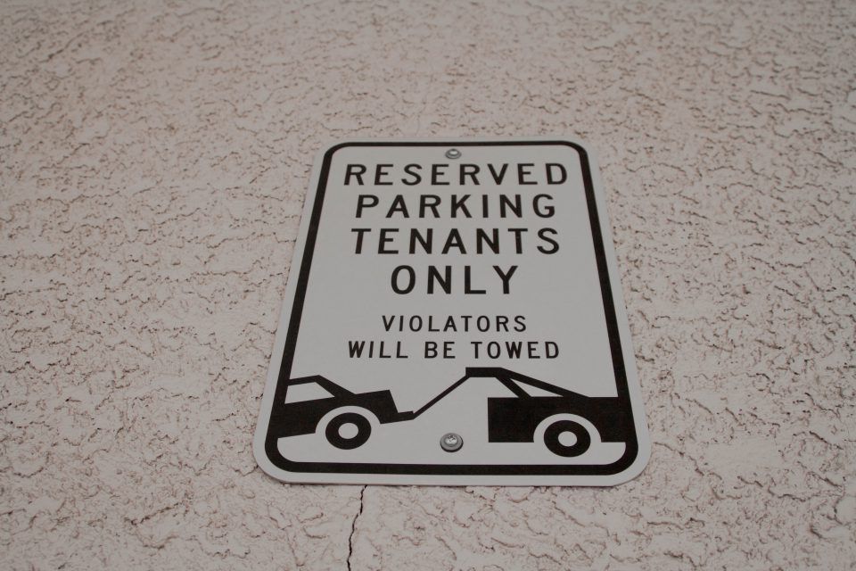 tenant's parking sign